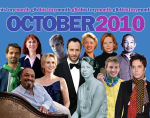 A montage of photographs of famous GLBT people from modern USA history. The text at the top reads 'GLBT History Month October 2010'