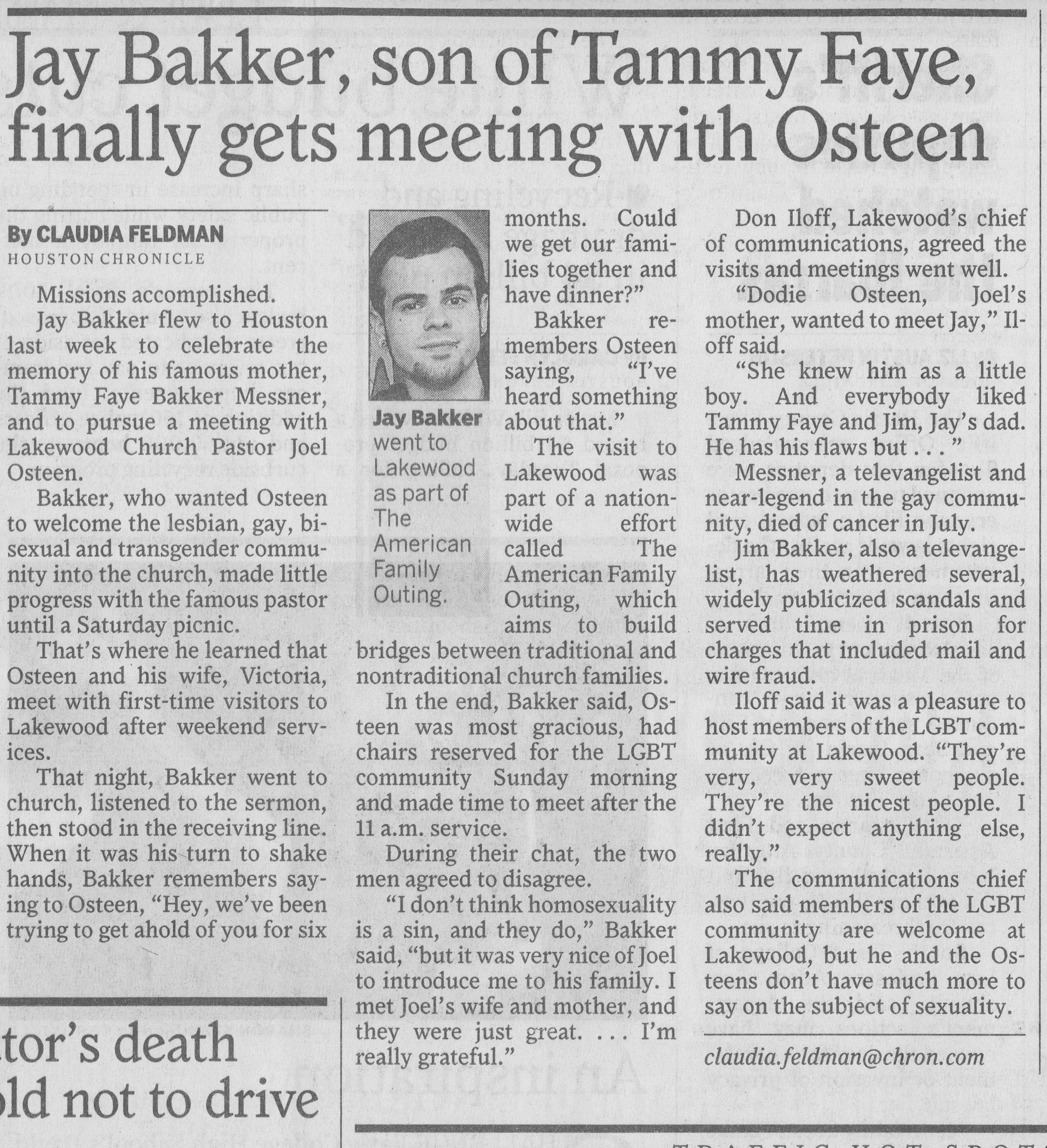 Jay Bakker, son of Tammy Faye, finally gets meeting with Osteen