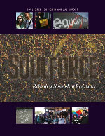 Cover of the 2009 - 2010 Soulforce annual review. Features the title of the report in the center with photographs from various actions above and below