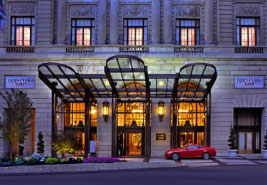 Exterior evening photograph of the Marriott Hotel in downtown Philadelphia