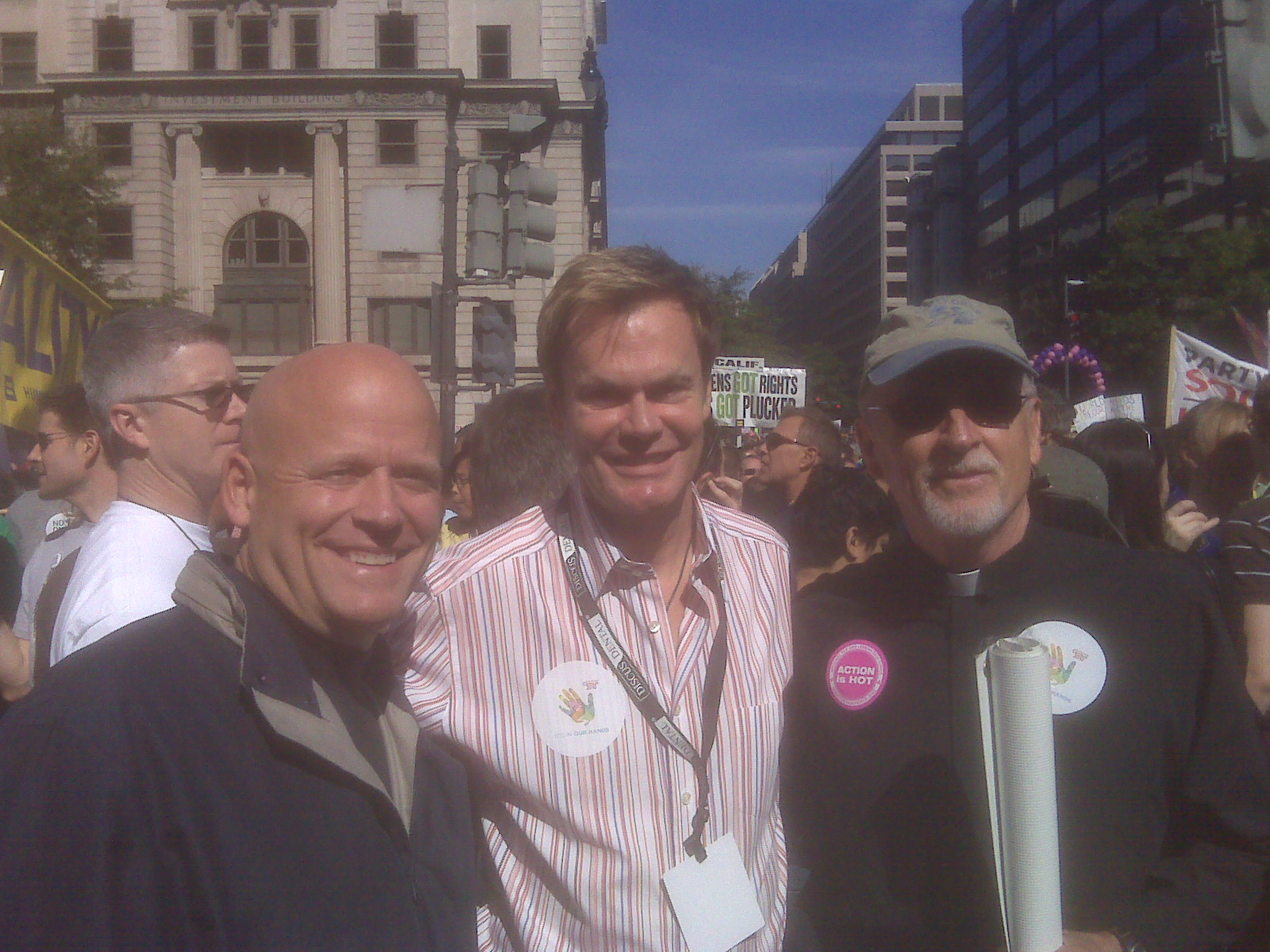 Jeff Lutes, Bruce Bastian, and Rev. Dr. Mel White at the National Equality March